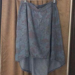Dresses & Skirts - Hinge high low denim flower patterned skirt